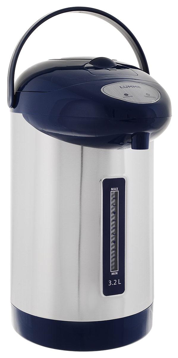 Lumme LU-296, Blue термопотLU-2963,2-литровый термопот Lumme LU-296 с ручным насосом для безопасной подачи кипятка. Два режима работы – автокипячение и поддержание температуры позволяют использовать термопот с наименьшими энергозатратами, при этом теплая вода или кипяток остаются всегда под рукой. Благодаря корпусу из высококачественной пищевой нержавеющей стали и закрытому нагревательному элементу термопот обладает значительной прочностью и экологически чист - нержавеющая сталь не имеет запаха и сохраняет природные натуральные свойства воды. Шкала уровня воды на корпусе позволяет легко определить необходимость наполнения термопота водой, а LED-индикаторы режимов работы – проконтролировать его состояние. Термопот оснащен такими функциями безопасности как автоматическое отключение при закипании и отключение при недостаточном количестве воды. Плоское дно термопота с закрытым нагревательным элементом очень функционально – легко моется, противостоит накипи,...