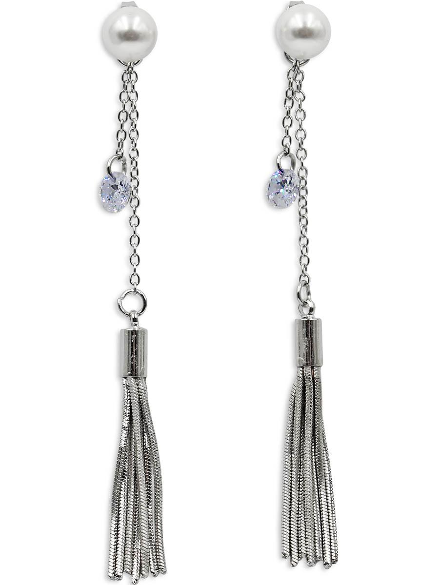 Серьги Taya, цвет: серебристый. T-B-12353T-B-12353-EARR-SILVERСтильные серьги с застежкой-гвоздик изготовлены из бижутерного сплава. Два украшения в одном: жемчужину на штифте можно носить отдельно, например, на работу или учебу. Вечером на штифт смело можно одеть цепь с кисточкой и кристаллом.