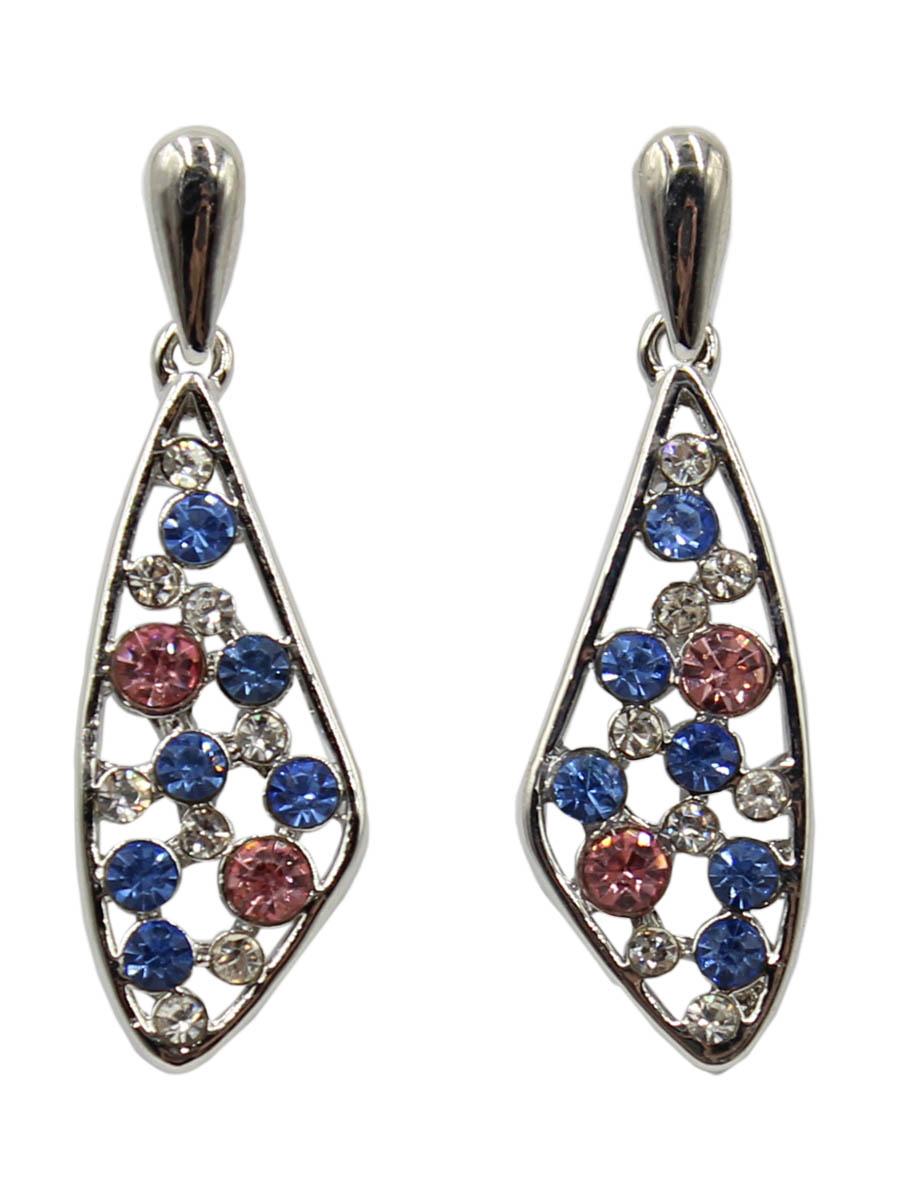 Серьги Taya, цвет: серебристый, синий. T-B-12381Серьги с подвескамиСерьги-гвоздики с заглушкой металл-пластик изготовлены из бижутерного сплава. Нестандартной формы капля хаотично усыпана разного размера голубыми и карминовыми кристаллами.