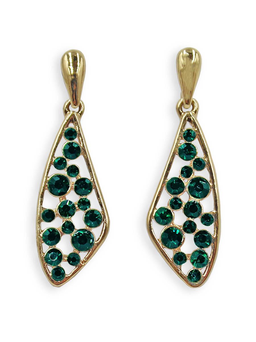Серьги Taya, цвет: золотистый, зеленый. T-B-12382T-B-12382-EARR-GL.GREENСерьги-гвоздики с заглушкой металл-пластик изготовлены из бижутерного сплава. Нестандартной формы капля усыпана разного размера изумрудными кристаллами.