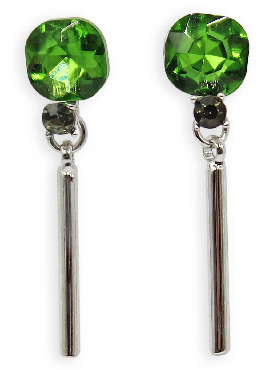 Серьги Taya, цвет: серебристый, светло-зеленый. T-B-12386Серьги с подвескамиСерьги-гвоздики с заглушкой металл-пластик изготовлены из бижутерного сплава. Мочку уха закрывает кристалл изысканного цвета. Низ сережек украшает серебряный столбик.