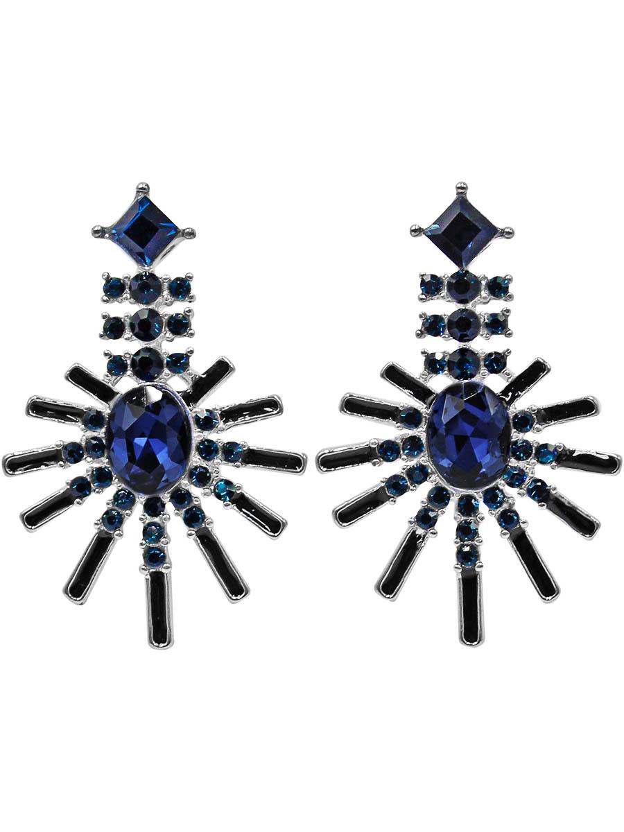 Серьги Taya, цвет: темно-синий. T-B-1241339859 Пуссеты (гвоздики)Серьги-гвоздики с заглушкой металл-пластик изготовлены из бижутерного сплава. Серьги выполнены в форме лучей. Середина дополнена сверкающим камнем.