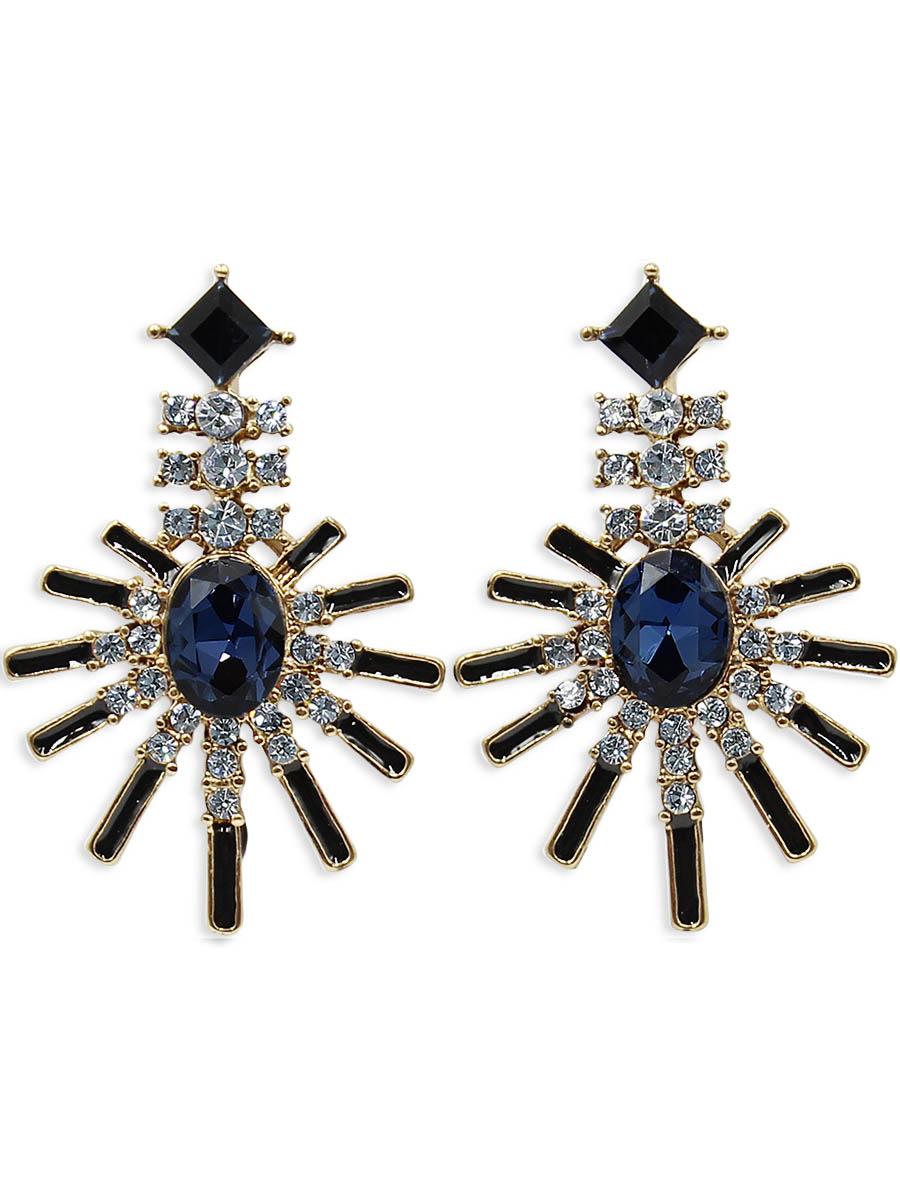 Серьги Taya, цвет: золотистый, темно-синий. T-B-12414T-B-12414-EARR-GL.D.BLUEСерьги-гвоздики с заглушкой металл-пластик изготовлены из бижутерного сплава. Серьги выполнены в форме лучей. Середина дополнена сверкающим камнем.