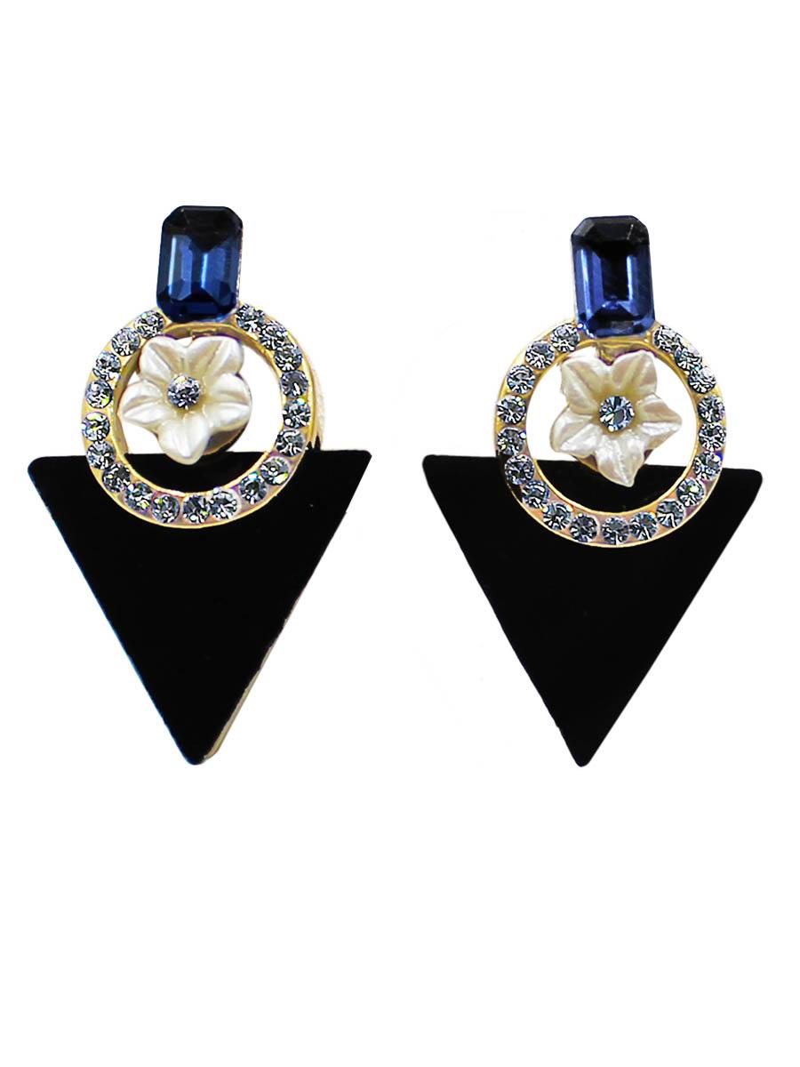 Серьги Taya, цвет: золотистый, черный. T-B-12425T-B-12425-EARR-GL.BLACKСерьги-гвоздики с заглушкой металл-пластик изготовлены из бижутерного сплава. Оформлены серьги в форме треугольника, а верх дополнен цветком в круглой рамке с обрамлением из страз.