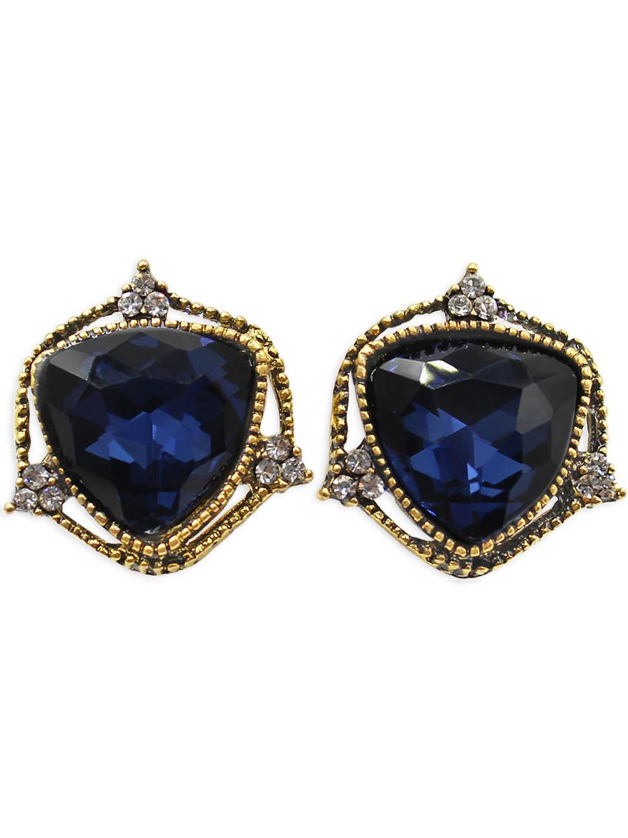 Серьги Taya, цвет: золотистый, темно-синий. T-B-12431Серьги с подвескамиСерьги с английским замком изготовлены из бижутерного сплава. Вся прелесть украшения в крупном сверкающем кристалле. Рамка вокруг него тонкая и изящная, она не отвлекает внимание на себя, а лишь концентрирует внимание на камне.