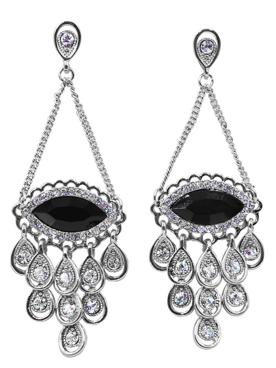 Серьги Taya, цвет: черный, серебристый. T-B-12433T-B-12433-EARR-BK.SILVERСерьги-гвоздики с заглушкой металл-пластик изготовлены из бижутерного сплава. Серьги-обереги в форме глаза оформлены большим сверкающим камнем с обрамлением из страз. Низ дополнен свисающими серебряными капельками.