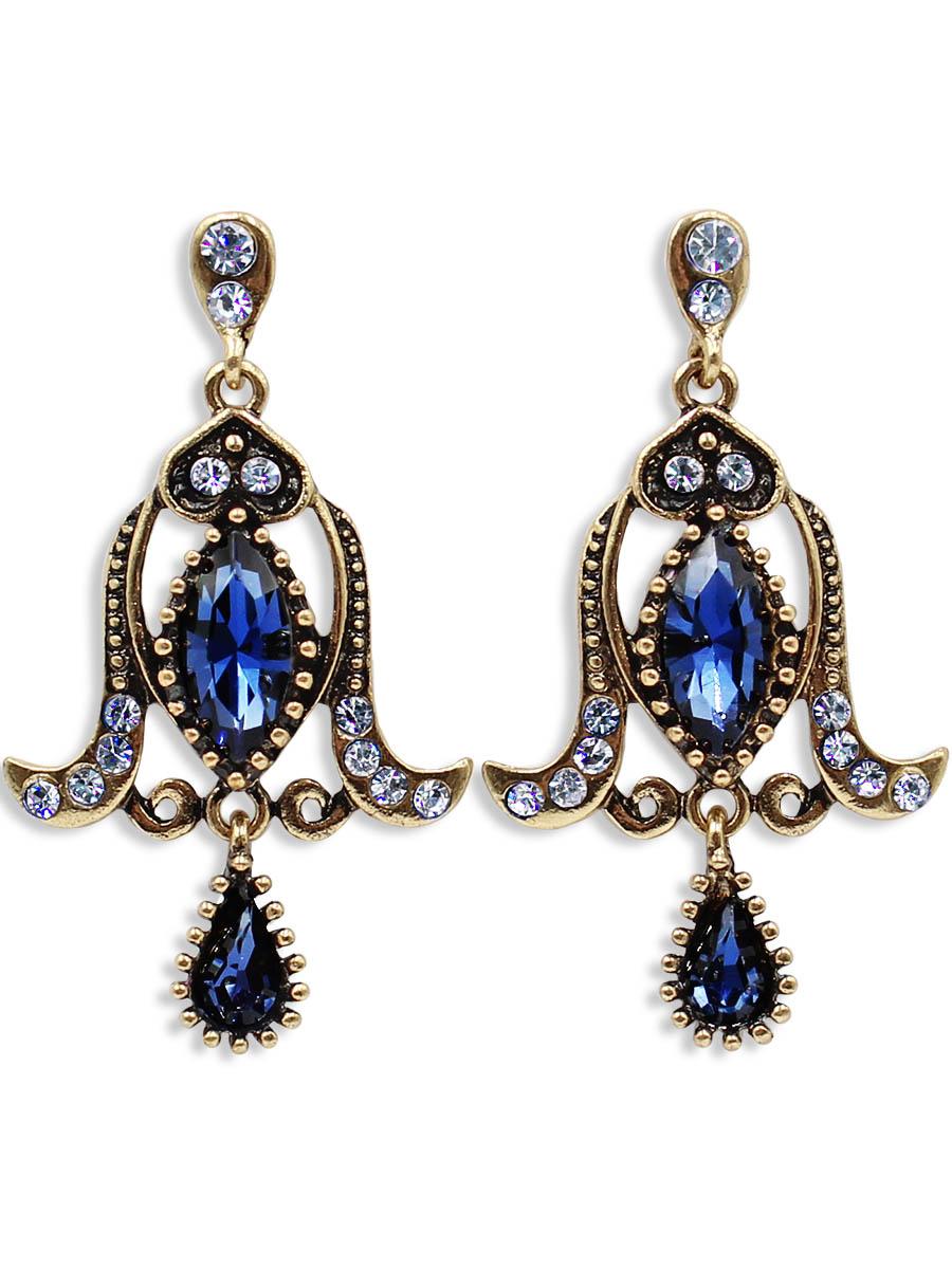 Серьги Taya, цвет: золотистый, темно синий. T-B-12487T-B-12487-EARR-GL.D.BLUEСерьги-гвоздики с заглушкой металл-пластик. Все детали на изделии продуманы до мелочей, гладкие линии и шелковистые, кристаллы плавно огранены. Серьги выполнены в форме колокольчика.
