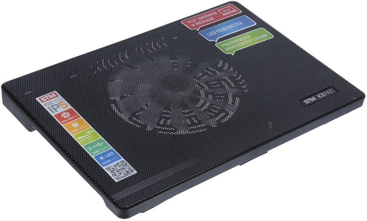 STM IP5, Black, охлаждающая подставка для ноутбука STM IP5 black