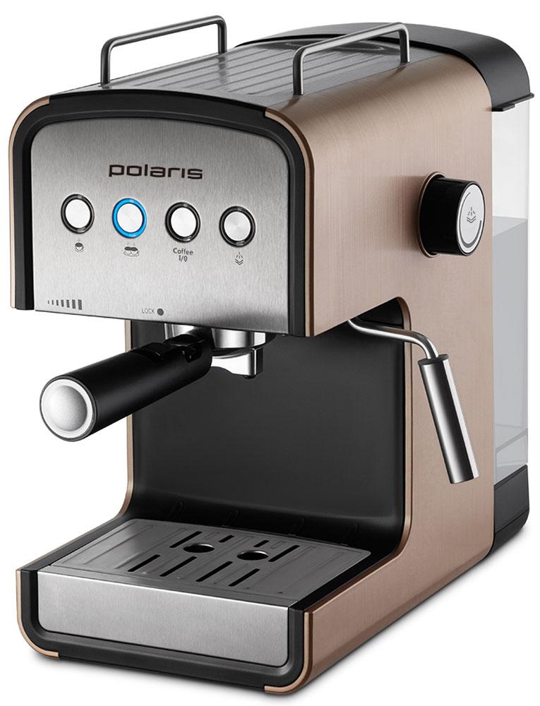 Polaris PCM 1526E Adore Crema кофеварка7730Polaris PCM 1526E - кофеварка для настоящих кофейных ценителей. Она поможет не только проснуться, но получить отличный заряд бодрости на весь день.Удобная в использовании модель оснащена всем необходимым для идеального процесса приготовления кофе - в комплект входят съемный поддон, резервуар для воды и фильтр. А специально для тех, кто хочет разнообразить свой утренний кофе, Polaris добавили специальные трафареты для рисунков на молочной пене. С их помощью вы сможете создавать кофейные шедевры каждый день! Polaris PCM 1526E - совершенство технологий и стиля: давление в 15 бар идеально подходит для создания кофе с интенсивным ароматом. А благодаря компактному размеру и мягкой подсветке кнопок кофеварка станет украшением вашей кухни.