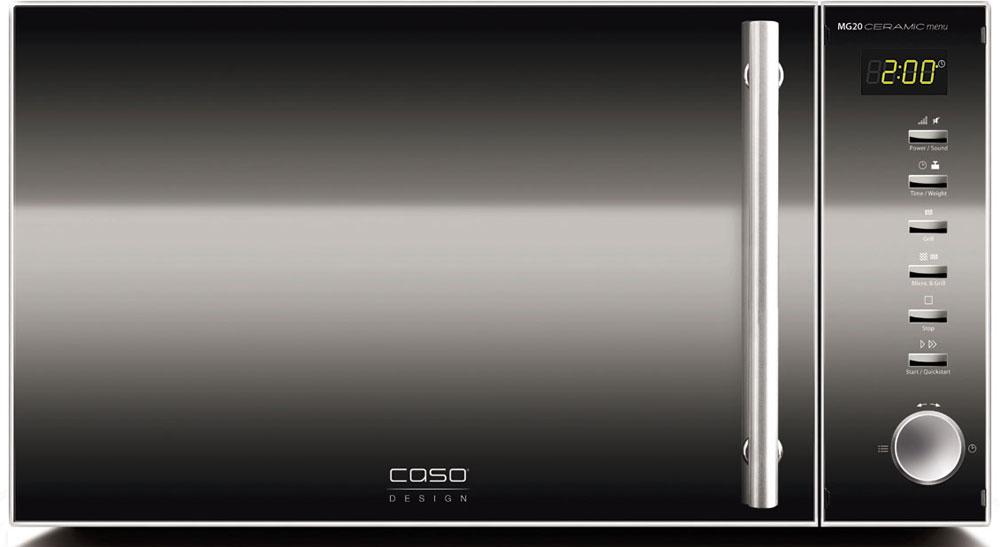 CASO MG 20 Ceramic Menu СВЧ-печьMG 20 Ceramic MenuCASO MG 20 Ceramic Menu - стильная СВЧ-печь в оригинальном черном корпусе с серебристыми элементами. Зеркальная передняя панель подчеркивает изящество дизайна. Ровное керамическое дно очень легко моется и дает больше места для прямоугольных форм при готовке. Отражатель микроволн равномерно распределяет микроволны, блюдо отлично готовится со всех сторон. Данная модель имеет внутреннее освещение и удобное электронное управление для максимально комфортной эксплуатации. Множество автоматических программ, а также таймер со звуковым сигналом также поможет быстро и просто приготовить то или иное блюдо. Автоматических программ: 14 Возможность отключения звукового сигнала Таймер: 60 мин