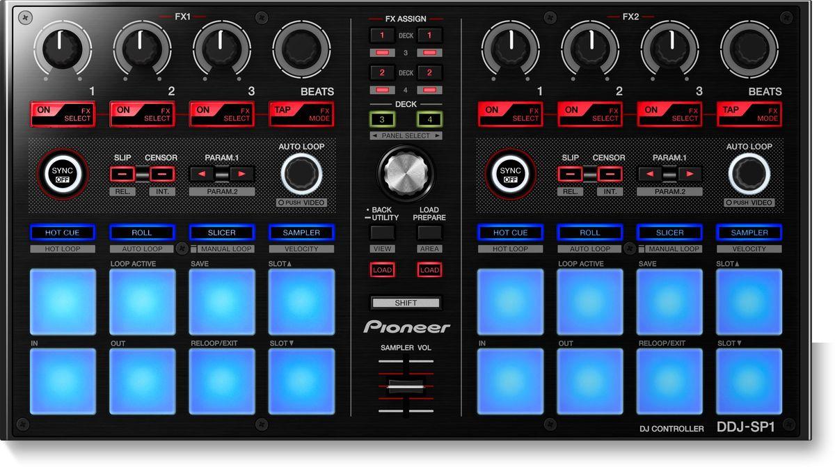 Pioneer DDJ-SP1 DJ контроллер среднего уровня386587Pioneer DDJ-SP1 - контроллер-дополнение для Serato DJ, сделанный для большей свободы и нового уровня креативности диджея. Просто добавьте DDJ-SP1 к своему комплекту, состоящему, например, из плееров с таймкод-дисками и микшера DJM-900SRT или контроллера DDJ-S1, и вы сможете управлять шестью семплами, восемью горячими точками и более чем тридцатью эффектами. И все это без необходимости использования клавиатуры или мышки. Шестнадцать прорезиненных клавиш со светодиодной подсветкой в режиме Velocity добавляют новые возможности для управления семплами. Пэды работают в семи режимах: горячие точки, слайсер, ролл, семплер, горячие петли, автоматические и ручные петли, динамика. Все пэды чувствительны к силе нажатия. Световая индикация показывает режим работы. Можно управлять четырьмя деками одновременно, и редактировать в прямом эфире одновременно на двух. DJ-контроллер сделан так, чтобы выдерживать работу в жестких условиях. В его...