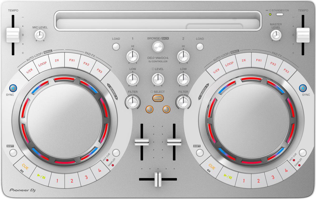 Pioneer DDJ-WEGO4-W DJ контроллер для начинающих397983Не надо долго искать, с чего начать! Pioneer DDJ-WEGO4-W - как раз то, что нужно начинающему диджею, чтобы сделать первые шаги. С помощью этого почти невесомого контроллера можно микшировать треки из фонотеки iTunes твоего iPad, или работать с музыкой, хранящейся на ноутбуке.В модели есть всё для того, чтобы научиться сводить профессионально: кнопки play/cue, регуляторы эквалайзера, ползунковые регуляторы темпа, кроссфейдер и джог для скретча. Унаследованные от профессионального оборудования семплер, Hot Cues и эффекты Pad FX добавят твоим выступлениям еще больше творческого разнообразия. Подключить DDJ-WeGO4 очень просто, просто подсоедини поставляемый в комплекте кабель USB или Lightning-кабель, и готово. iPad надежно фиксируется в слоте на контроллере под углом, удобным для обзора.Использование встроенного динамика компьютера как мастер выхода и подключение наушников к контроллеру.Переключение между 3-полосным эквалайзером, 2-полосным эквалайзером и режимом фильтра в Rekordbox DJ или WeDj для прозрачных и сбалансированных звуков.В комплекте с Pioneer DDJ-WEGO4-W поставляется лицензионный ключ для профессиональной DJ-программы rekordbox dj, которая работает на платформах Mac и Windows. Можно подключить контроллер к ноутбуку и начать играть сразу после покупки!Характеристики:Частотный диапазон: 20 - 20000 ГцЧастота дискретизации: 48 кГцА/Ц преобразователь: 24 битЦ/А преобразователь: 24 битЗвуковые искажения: 0,006%Эффекты/Семплер: сэмплер: 4 на каждую декуДиаметр джога: 109 ммКоличество Hot Cue: 8Петли: Autoloop / Manual loop