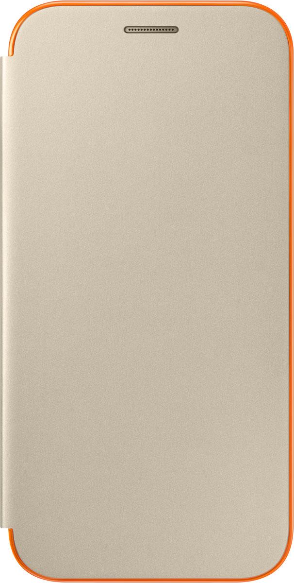 Samsung EF-FA520 Neon Flip Cover чехол для Galaxy A5 (2017), GoldEF-FA520PFEGRUЧехол Neon Flip Cover создан для качественной защиты смартфона Samsung Galaxy A5 (2017) с учетом его особенностей. Он плотно прилегает к девайсу и защищает от пыли и царапин. Чехол выполнен из материалов высокого качества, приятен на ощупь, не увеличивает габаритов смартфона, подчеркивая его тонкую форму и современный стиль.