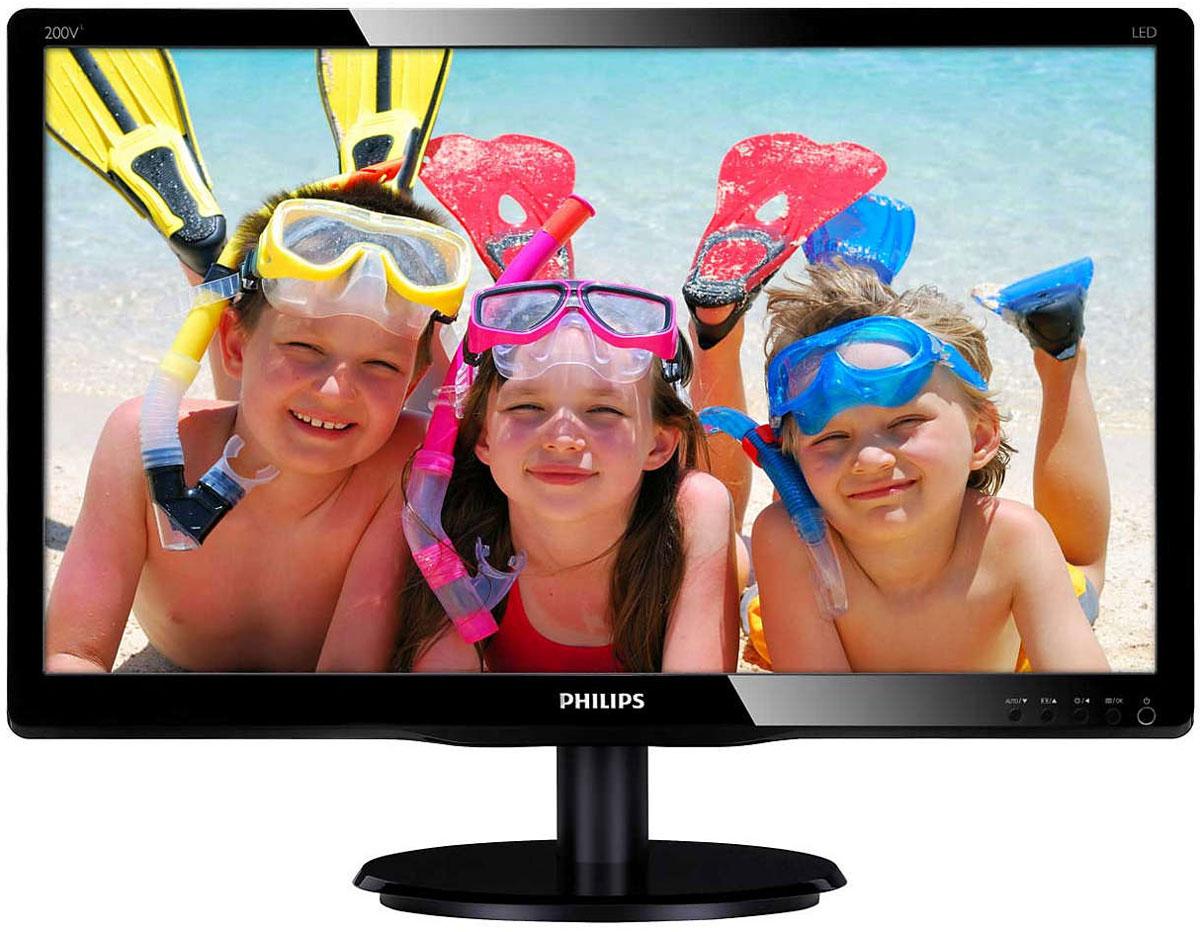 Philips 200V4QSBR монитор200V4QSBR/00(01)Оцените яркое изображение и стильный глянцевый корпус светодиодного монитора Philips 200V4QSBR, оснащенного функцией SmartControl Lite. Светодиодный дисплей Philips MVA оснащен передовой технологией многозонного вертикального совмещения, которая обеспечивает сверхвысокий коэффициент статического контраста, формируя более яркую, живую картинку. Благодаря такому дисплею без труда можно работать в стандартных офисных программах, но особенно он эффективен для просмотра фотографий, веб-страниц и фильмов, для игр, а также для работы с мощными графическими приложениями. Технология оптимизированной обработки пикселей расширяет угол обзора до 178/178 градусов, и в результате вы видите четкое изображение.Качество изображения играет важную роль. Обычные дисплеи обеспечивают неплохое качество изображения, однако не на самом высоком уровне. Этот дисплей оснащен улучшенным разрешением Full HD 1920 x 1080: четкая детализация в сочетании с высокой яркостью, удивительной контрастностью и реалистичной цветопередачей — естественное изображение словно оживает на глазах.SmartContrast — технология Philips, которая анализирует отображаемый контент и автоматически настраивает цвета и интенсивность подсветки для динамичного улучшения контраста. Тем самым обеспечивается оптимальный уровень контрастности и наилучшее качество цифрового изображения, а также большая насыщенность темных оттенков, что особенно важно во время игр. При выборе экономичного режима уровень контрастности регулируется, а подсветка настраивается для оптимальной работы со стандартными офисными приложениями и экономии электроэнергии.SmartControl Lite — программное обеспечение нового поколения для управления монитором с поддержкой 3D изображения. Графический интерфейс позволяет пользователю выполнять тонкую настройку различных параметров монитора, таких как Цвет, Яркость, Калибровка экрана, Multi-media, Управление идентификатором и так далее с помощью мыши.Мониторы Philips со светодио