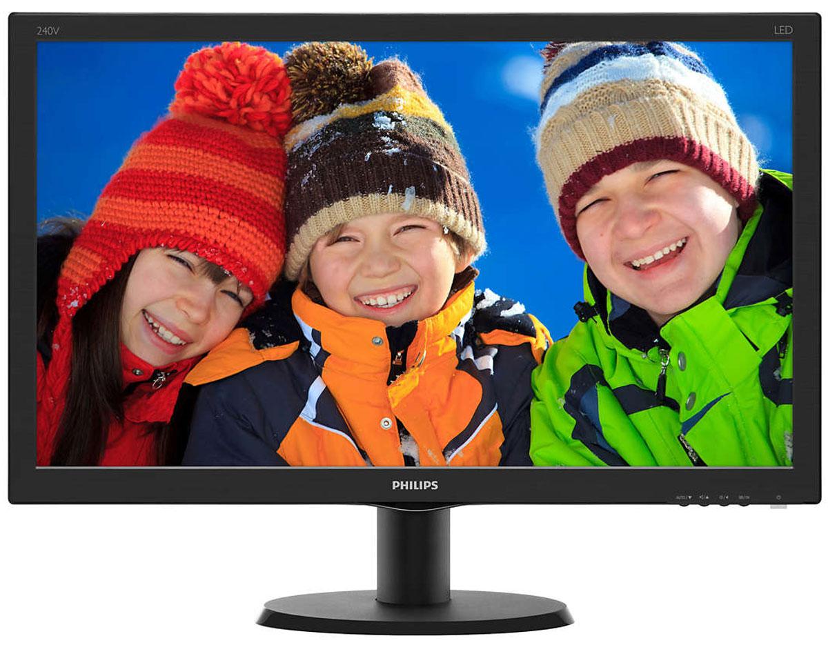 Philips 240V5QDAB, Black монитор240V5QDAB/00(01)Оцените яркое изображение на дисплее Philips 240V5QDAB с входом HDMI и акустической стереосистемой. В IPS-ADS-дисплеях используется прогрессивная технология, обеспечивающая широкий угол обзора 178/178 градусов для просмотра дисплея практически под любым углом. По сравнению со стандартными TN-панелями IPS-ADS-дисплеи обеспечивают значительно более высокую четкость изображения и яркие цвета, что делает их идеальным решением не только для просмотра фотографий, фильмов и веб-сайтов, но также и для работы в профессиональных приложениях, где требуется точная передача цвета и яркости. Качество изображения играет важную роль. Обычные дисплеи обеспечивают неплохое качество изображения, однако не на самом высоком уровне. Этот дисплей оснащен улучшенным разрешением Full HD 1920 x 1080: четкая детализация в сочетании с высокой яркостью, удивительной контрастностью и реалистичной цветопередачей — естественное изображение словно оживает на глазах. SmartContrast —...