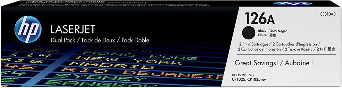 HP CE310AD (126A), Black тонер-картридж для LaserJet Pro M275/CP1025/100 M175, 2 штCE310ADУпаковка из двух черных картриджей с тонером HP CE310AD (126A) позволяет печатать и экономить больше. Получите профессиональное качество печати по более выгодной цене по сравнению с отдельными картриджами. Сохраняйте свою производительность и сократите время простоев, имея под рукой дополнительный картридж.Теперь можно выполнять больше работы, не увеличивая бюджет на печать. Использование оригинальных картриджей HP LaserJet в упаковке из двух штук более выгодно по сравнению с отдельными картриджами. Приобретая упаковки с несколькими картриджами, можно печатать больше по доступной цене. Экономьте на доставке, получая два картриджа в одном заказе.Будьте уверенны в результате работы, так как оригинальные картриджи с тонером HP LaserJet разработаны в соответствии с особенностями принтеров и многофункциональных устройств HP для обеспечения идеальной производительности. Четкие черно-белые документы высокого качества помогут произвести хорошее впечатление.