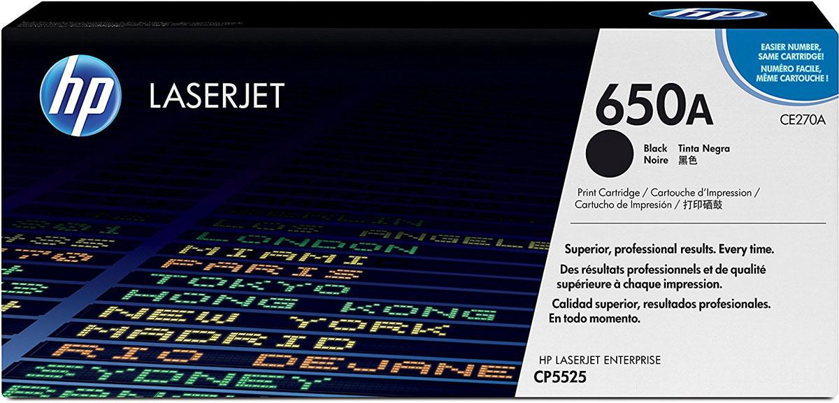 HP CE270A (650A), Black тонер-картридж для Color LaserJet Enterprise CP5525/M750CE270AНадежные оригинальный лазерный картридж HP CE270A (650A), предназначенные для регулярной печати электронных писем, чертежей и документов, обеспечивает высокую четкость черного текста и позволяет экономить время и расходные материалы. Создавайте офисные документы с четким черным текстом. Оригинальные картриджи с тонером HP обеспечивают великолепные профессиональные результаты и подходят для различных типов бумаги для профессиональной лазерной печати в офисе.