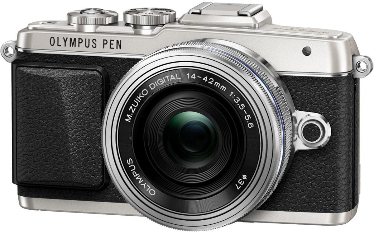 Olympus PEN E-PL7 Kit 14-42 EZ, Silver цифровая фотокамераV205073SE001Камера Olympus PEN E-PL7 сделана из премиального металла с тиснением под кожу, что подчеркивает вашу утонченность. Она отлично помещается в сумочку и сочетается с аксессуарами. Каждая деталь (дизайн привлекательного ремешка, расположение управляющих дисков) была создана для того, чтобы вы выглядели элегантно все время. Высочайшее качество снимков зависит от высококачественного объектива, мощного сенсора и графического процессора. К счастью, цифровая фотокамера Olympus E-PL7 оснащена всем перечисленным. В результате вы получаете высокое разрешение, отличную цветопередачу, низкий уровень шума и широкий динамический диапазон. С помощью модуля Wi-Fi вы можете передать их на мобильное устройство и выложить в блоге, а также делиться с друзьями. Камерой очень легко управлять - например, LCD-дисплей откидывается вниз, чтобы вы были уверены, что руки не попадут в кадр при съемке. Таким образом можно делать великолепные селфи. Данная модель позволит...