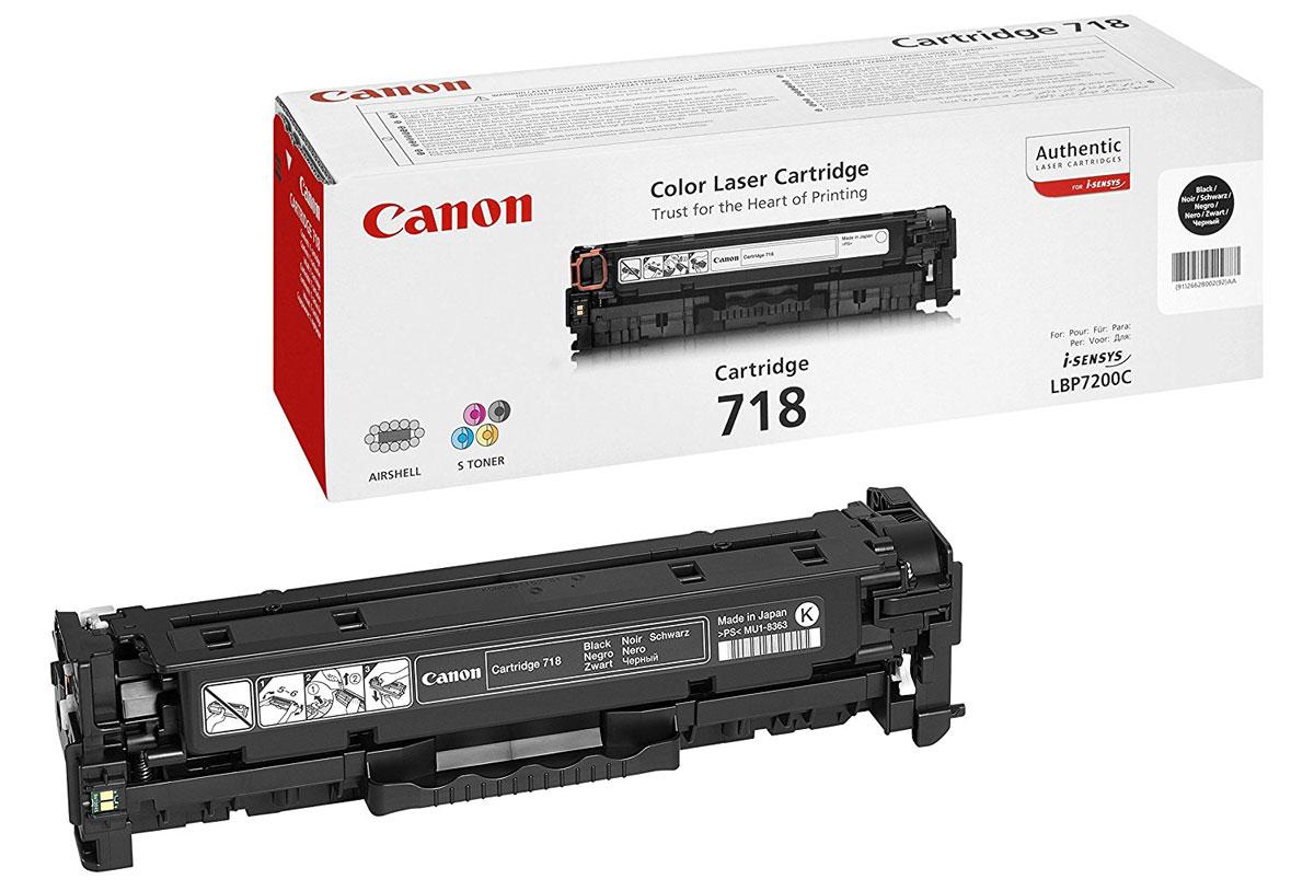 Canon 718, Black картридж для LBP-72002662B002Получайте красивые монохромные отпечатки без полос с помощью картриджа 718 Вк, который идеально подходит для принтера Canon i-SENSYS LBP-7200 и рассчитан приблизительно на 3400 страниц.