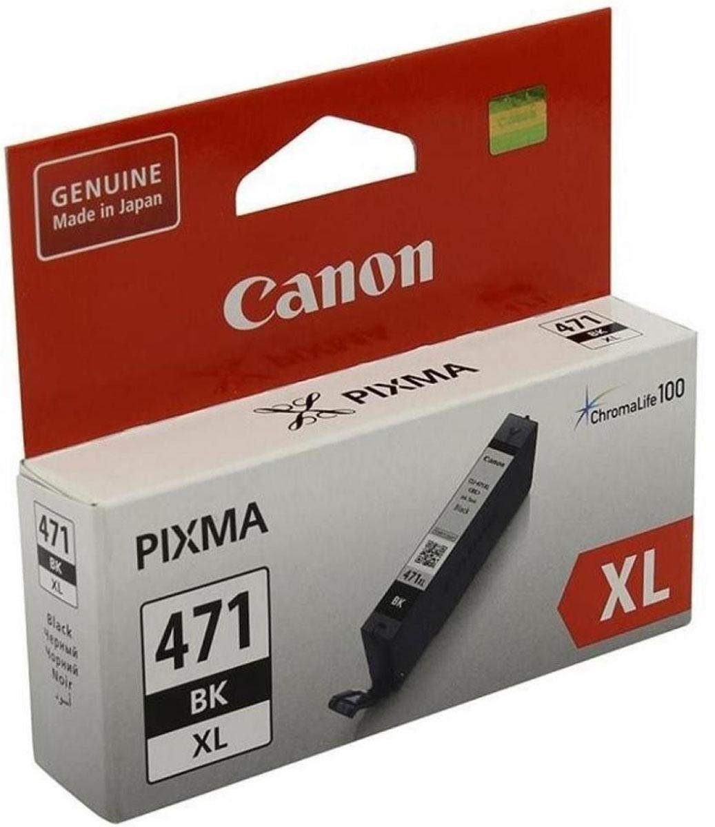 Canon CLI-471XL, Black картридж для MG5740/MG6840/MG7740/TS8040/TS9040/TS5040/TS60400346C001Эта чернильница с черными чернилами и увеличенным ресурсом позволяет увеличить объем печати до 2 раз по сравнению с чернильницей стандартного объема. Черные чернила с технологией ChromaLifelOO используются для печати фотографий. Эта чернильница объемом 11 мл позволяет вывести на печать до 810 цветных фотографий формата 10x15 см.