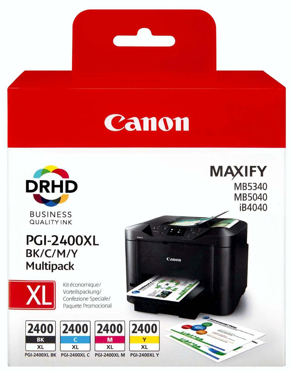 Canon PGI-2400XL EMB MULTI картридж для Maxify iB4040/МВ5040 и МВ53409257B004Сэкономьте время и деньги благодаря этой мульти-упаковке, в которой содержится полный набор чернил XL для вашего принтера: голубые, пурпурные, желтые и черные. Пигментные чернила DRHD используются для профессиональной печати бизнес документации.
