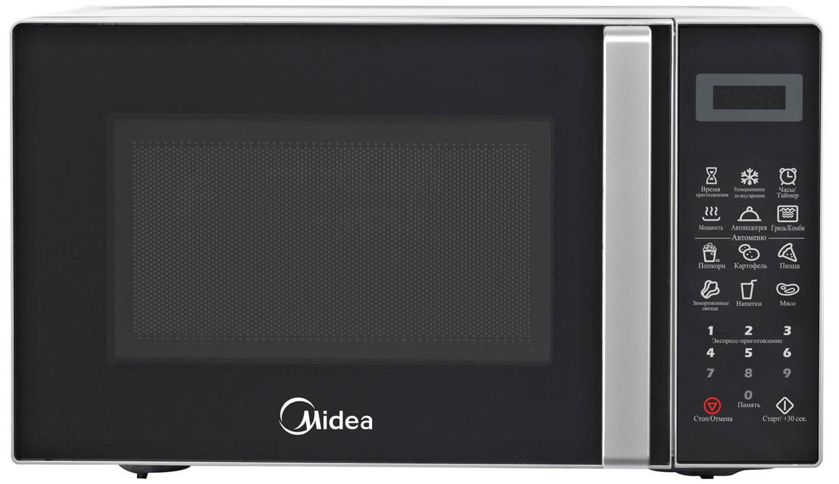 Midea EG820CXX микроволновая печьME83KRW-1Компактная и надежная микроволновая печь объемом 20 литров сочетает в себе стильный дизайн, высокое качество и интуитивно понятное электронное управление, благодаря чему вы сможете быстро и просто разогреть и приготовить различные блюда. С функцией автоматического размораживания вам не придется подсчитывать необходимое количество времени и мощность для размораживания того или иного продукта, достаточно выбрать специальную программу. Функция автоматического разогрева избавит вас от необходимости делать расчеты, достаточно лишь указать тип продукта и его объем, а микроволновая печь самостоятельно определит необходимую мощность. Кроме того, в этой модели имеются 6 функций автоматического приготовления, в которых наиболее популярные блюда запрограммированы, и достаточно лишь выбрать необходимое блюдо и печь сама установит режим. Со встроенным грилем вы сможете готовить аппетитные блюда с хрустящей корочкой. Камера печи покрыта инновационной разработкой компании Midea - эмалью легкой очистки Smart Clean (Смарт Клин), которая состоит из специального жаропрочного материала, не пропускающего внутрь запекшийся жир и остатки пищи. Поэтому очищать печь можно значительно быстрее и легче! Функция таймера (на 99 минут) и 11 уровней мощности еще больше облегчат процесс приготовления и позволят сэкономить время. Дверца открывается при помощи удобной ручки. Панель управления на русском языке и светодиодный (LED) дисплей помогут быстро и легко приготовить любимые блюда! По окончании процесса приготовления раздается звуковой сигнал. Безопасность в работе обеспечивает защита от включения при открытой дверце, а также защитная блокировка кнопок. В подарок к печи прилагается решетка для гриля и книга рецептов, которая разнообразит ваш стол различными новыми блюдами на любой вкус.