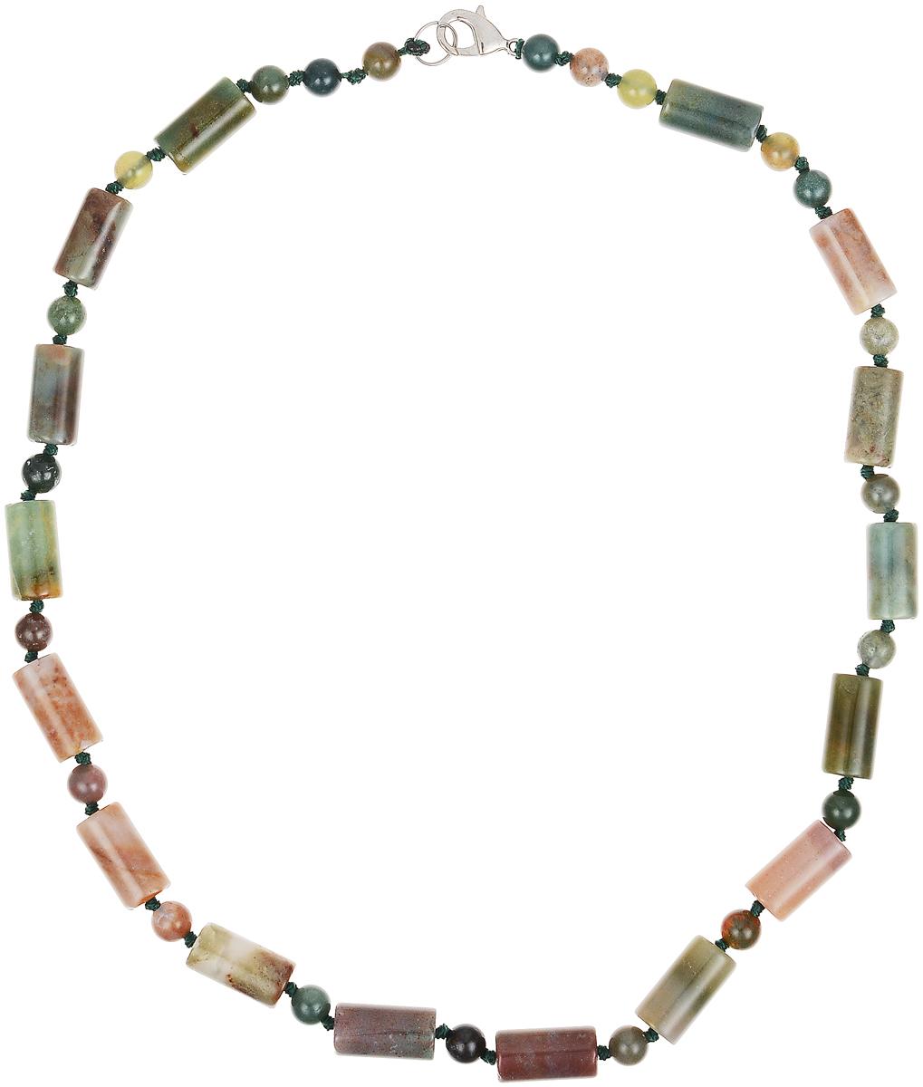Бусы Art-Silver, цвет: зеленый. СМЦ48-10-453СМЦ48-10-453Бусы Art-Silver выполнены из бижутерного сплава и камня сердолика. Изделие оснащено удобным замком-карабином.