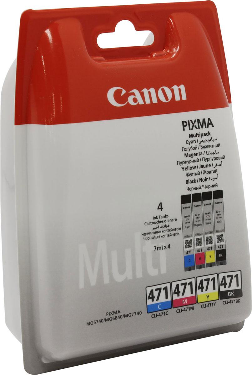 Canon CLI-471 комплект картриджей для Pixma MG5740/MG6840/TS60400401C004Комплект картриджей Canon CLI-471 содержит черные, голубые, желтые и пурпурные чернила на основе красителей, которые используются для печати документов на обычной бумаге и обеспечивают четкость текста и долговечность печатных изображений.