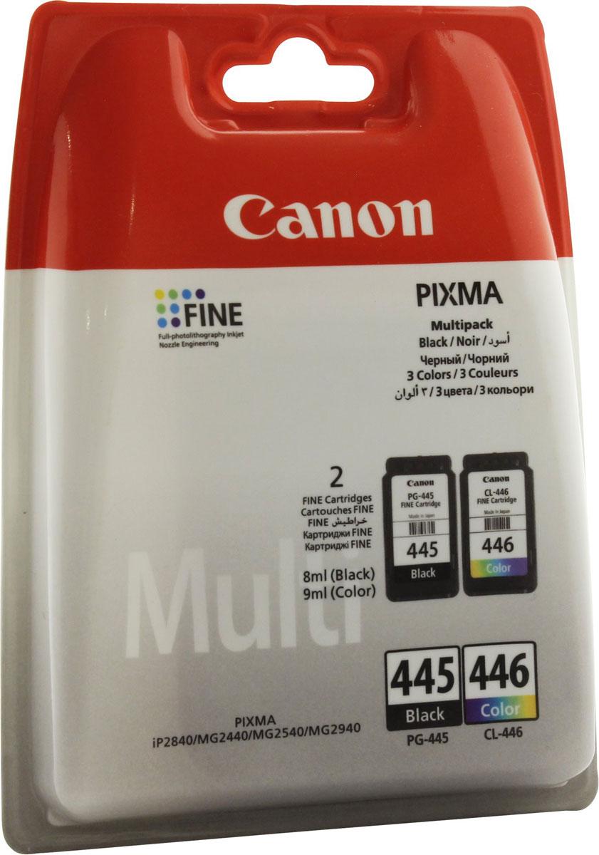 Canon PG-445/CL-446, Black комплект картриджей для MG2440/25408283B004Комплект картриджей Canon PG-445/CL-446 содержит черные, голубые, желтые и пурпурные чернила на основе красителей, которые используются для печати документов на обычной бумаге и обеспечивают четкость текста и долговечность печатных изображений.