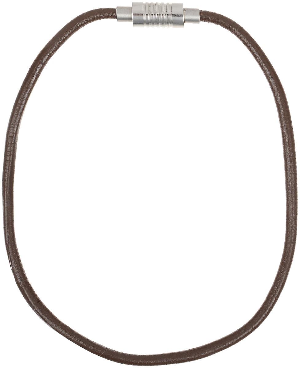 Ожерелье Art-Silver, цвет: коричневый. QD61-378QD61-378Ожерелье современного дизайна Art-Silver изготовлено из бижутерийного сплава и искусственной кожи. В комплекте с украшением поставляется мешочек для хранения.