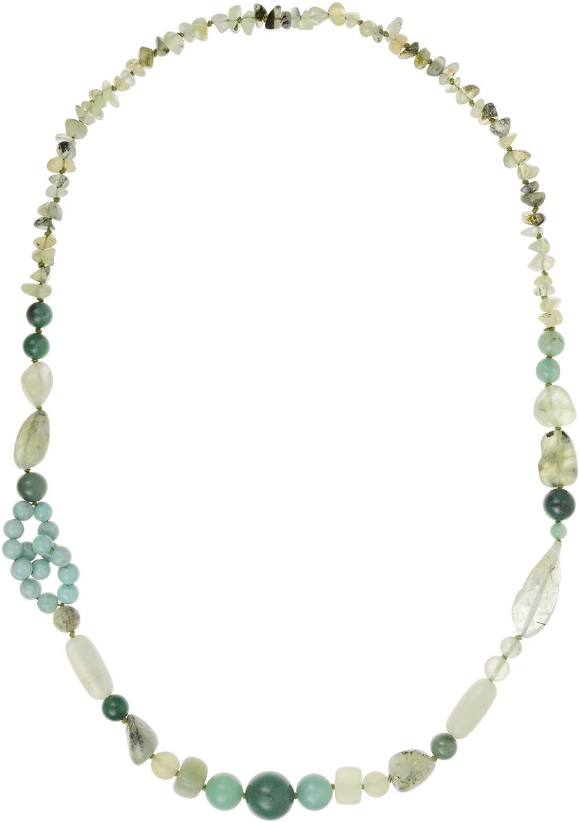 Бусы Art-Silver, цвет: зеленый. А-13-1-837А-13-1-837Бусы Art-Silver выполнены из текстиля, нефрита и жадеита. Изделие оформлено бусинами различного диаметра.