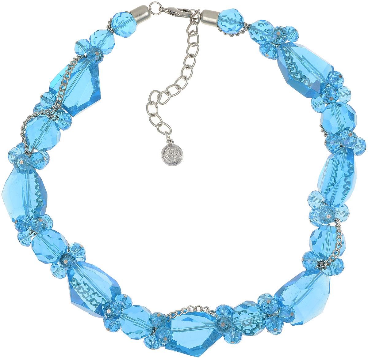 Бусы Art-Silver, цвет: голубой. TNL017-575TNL017-575Бусы Art-Silver выполнены из бижутерного сплава, циркона и кристаллов. Изделие оснащено удобным замком-карабином.