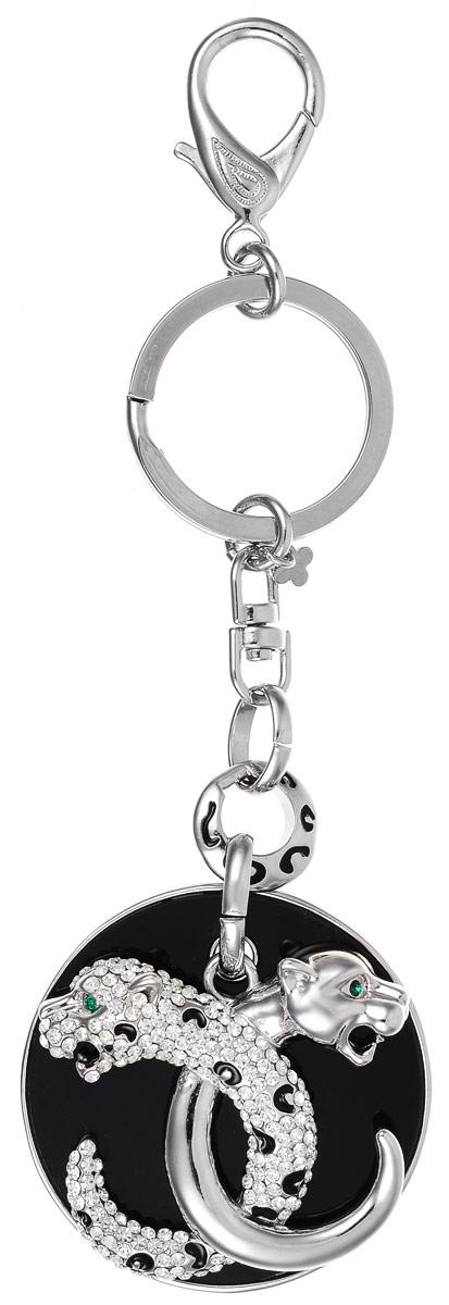 Брелок Art-Silver, цвет: серебряный, черный. V059975-2295V059975-2295Оригинальный брелок Art-Silver выполнен из бижуреного сплава с вставками из эмали и циркона. С помощью металлического кольца и карабина брелок можно пристегнуть на пояс, к рюкзаку, сумке или повесить на связку ключей.
