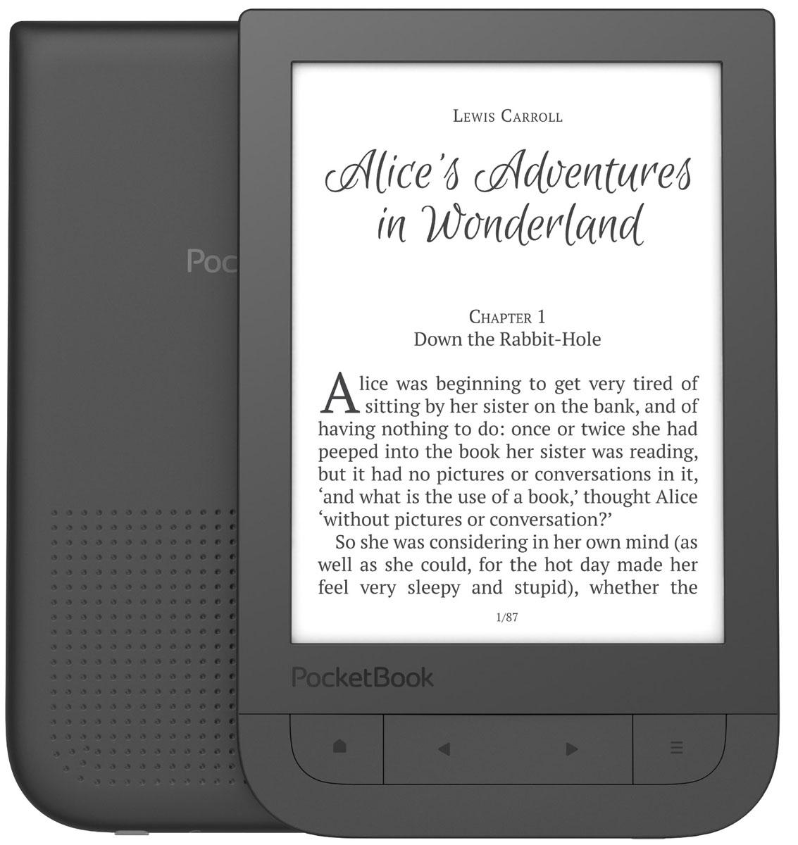 PocketBook 631 Touch HD электронная книгаPB631-E-RUPocketBook 631 Touch HD выполнен в лучших традициях PocketBook, обладает инфракрасным мультисенсорным экраном, светодиодной подсветкой, встроенным Wi-Fi модулем, 8 ГБ встроенной памяти, производительным процессором с тактовой частотой 1 ГГц и 512 МБ оперативной памяти. Инфракрасный экран E Ink Carta с HD разрешением (1072х1448) и 300 DPI, гарантирует высокую контрастность, четкость изображения и баланс между белым и черным цветами электронной страницы.Ридер станет приятным сюрпризом для тех, кто любит читать и слушать музыку одновременно. PocketBook 631 Touch HD получил все необходимые функции для воспроизведения аудио-файлов - поддерживает формат mp3, имеет стандартный 3,5 мм аудио-разъем. Те же функции дают возможность слушать аудио-книги в формате mp3. Благодаря функции Text-to-speech, которая преобразует текст в устную речь, ридер может читать вслух книгу или документ в любом из 18 текстовых форматов, поддерживаемых устройством.Пользователь PocketBook 631 Touch HD свободен выбирать электронный контент в любом формате - устройство поддерживает без конвертации 18 распространенных книжных и 4 графических формата (JPEG, BMP, PNG, TIFF). Предустановленные словари будут незаменимы при чтении иностранных книг. Встроенный беспроводной Wi-Fi модуль и сервисы Dropbox, Книги по e-mail и PocketBook Sync, позволят быстро и легко загрузить любой контент на устройство без подключения к ПК.Для хранения цифровой библиотеки и аудио-коллекция новый электронный ридер оснащен 8 ГБ встроенной памяти и слотом для MicroSD карт (до 32 ГБ). Эффективный процессор с частотой 1 ГГц и 512 МБ оперативной памяти обеспечивают быстрый отклик любого приложения и плавное перелистывание страниц. Компактный и легкий PocketBook 631 Touch HD с габаритами 113,5 x 175 x 9 мм, весит всего 180 грамм.Ридер выполнен в элегантном дизайне, задняя панель с soft-touch покрытием имеет область с перфорированными точками для еще более удобного удерживания, и прият