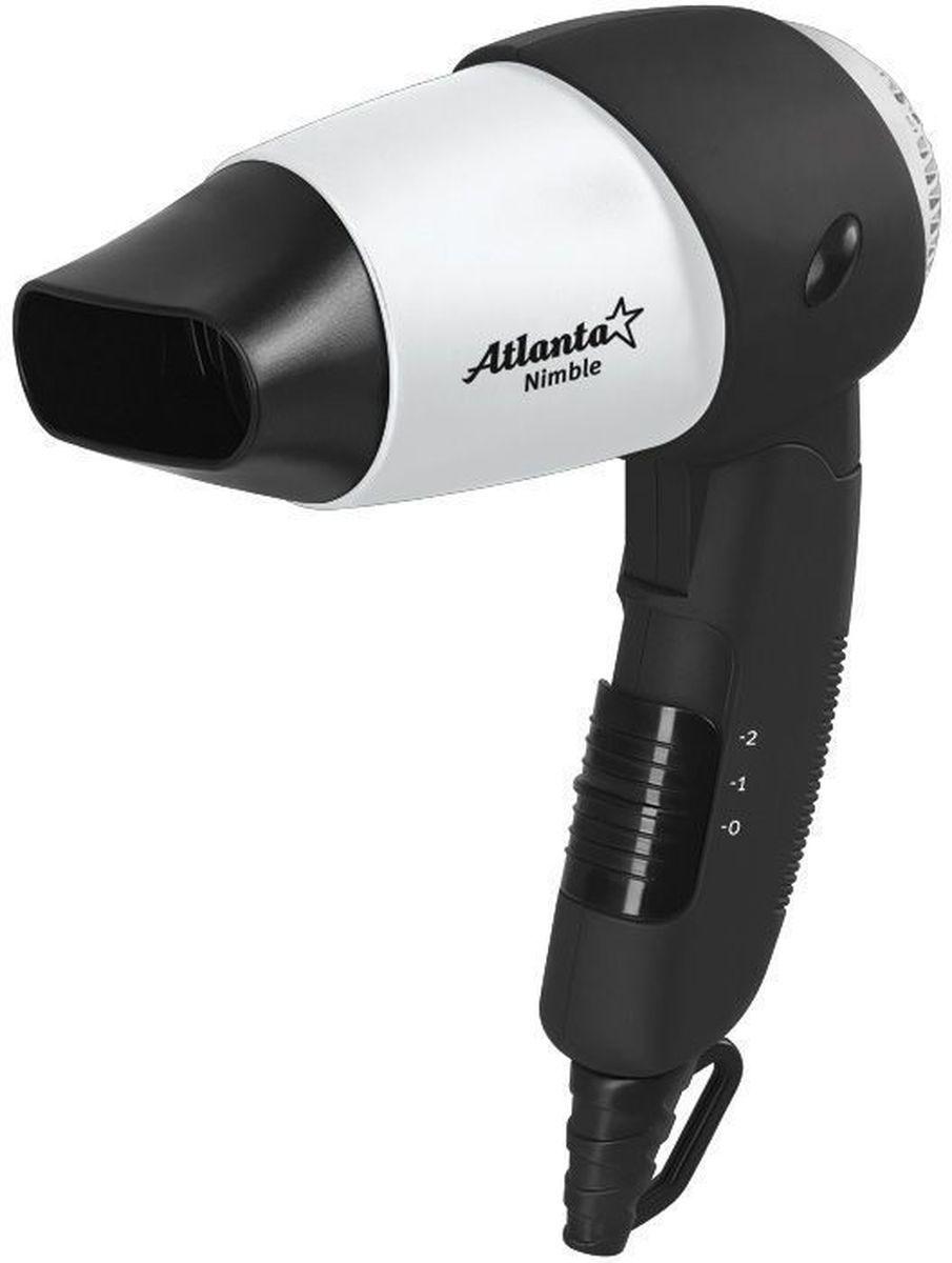 Atlanta ATH-884, Gray фен77.858@17862Фен Atlanta ATH-884 обеспечивает мощный воздушный поток и быструю сушку волос. Благодаря складывающейся ручке, идеален для путешествий или командировок. Мощность модели составляет 1200 Вт. Прибор оснащен 2 режимами интенсивности воздушного потока, максимальная температура которого составляет 57°C. Спиральный нагревательный элемент в виде конуса гарантирует нагрев по всему потоку воздуха. Эргономичная ручка с противоскользящим покрытием удобно лежит в ладони, кнопки управления находятся под рукой. Изделие соответствует американским и европейским нормам безопасности. Защита от перегрева Два уровня интенсивности сушки Специальное противоскользящие покрытие
