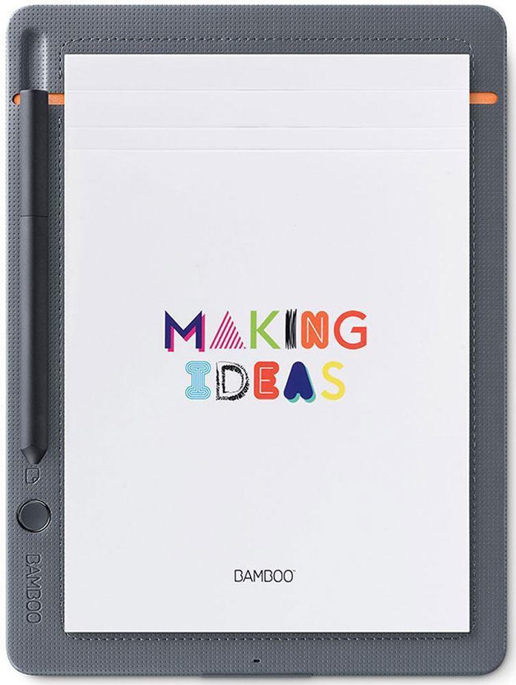 Bamboo Slate Small, Gray графический планшет (CDS-610S)4949268619981Bamboo Slate позволяет полнее использовать рукописные заметки и идеи. Пишите как обычной ручкой на любой бумаге, а затем сохраняйте, редактируйте и публикуйте свои заметки и идеи в облаке. С Bamboo Slate больше нет преград для вашего воображения. Пишите на любой бумаге и превращайте рукописные заметки и наброски в цифровые файлы одним нажатием кнопки. Не беспокойтесь, если у Вас с собой нет мобильного устройства: на Bamboo Slate можно сохранить до 100 страниц и синхронизировать их позднее. Приложение Wacom Inkspace и ваше устройство iOS или Android, поддерживающее Bluetooth, позволяют упорядочивать, редактировать и публиковать заметки и наброски. Кроме того, можно сочетать страницы заметок, добавлять штрихи, цвета и выделение к существующим заметкам, используя редактируемое цифровое рисование. Эргономичный треугольный профиль, мягкая поверхность и чувствительный к нажатию наконечник, которыми отличается ручка, обеспечивают идеальный комфорт при письме....