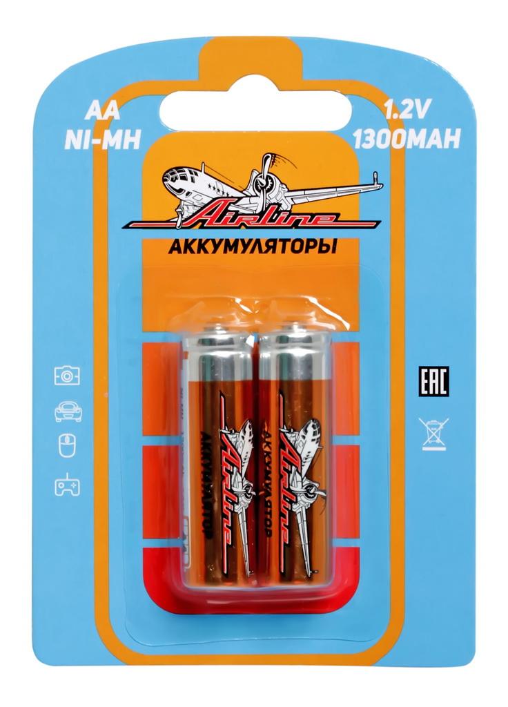 Батарейки Airline, AA HR6 аккумулятор Ni-Mh 1300 mAh, 2 штAA-13-02Никель-металл-гидридные (NiMH) аккумуляторы популярных типоразмеров ААА и АА в блистерах по 2 штуки.