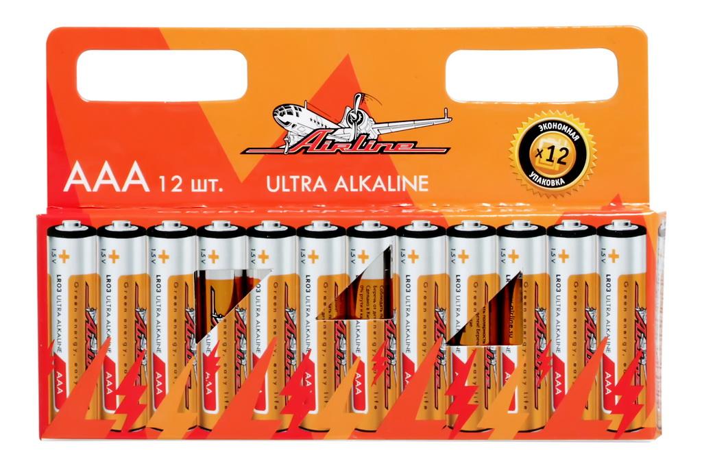 Батарейки Airline, LR03/AAA, щелочные, 12 штAAA-12Щелочные элементы питания используются для питания всевозможных электронных устройств, игрушек, фонарей и т.д. Блистер имеет вырубку для подвеса на крючок