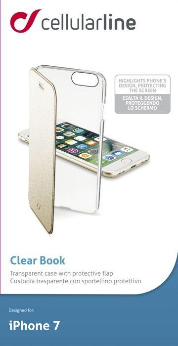 Cellular Line Clear Book чехол для Apple iPhone 7, GoldCLEARBOOKIPH747HЧехол-книжка Cellular Line Clear Book для iPhone 7 защитит ваш смартфон от пыли, грязи, царапин, оставив при этом свободный доступ ко всем разъемам устройства. Также имеется возможность использования чехла в виде настольной подставки. Чехол Cellular Line Clear Book - это стильная и элегантная деталь вашего образа, которая всегда обращает на себя внимание среди множества вещей.