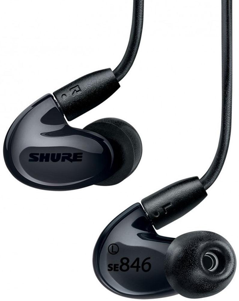 Shure SE846K, Black наушникиShure SE846K BlackShure SE846K - это арматурные внутриканальные наушники Hi-End класса от американской компании Shure. В этой четырехдрайверной модели используется по 2 излучателя для низких частот и по одному для средних и высоких. Звучание SE846 характеризуется первоклассной чистотой и детальностью в верхнем диапазоне и беспрецедентной производительностью в области басов. В наушниках реализованы технологии персонального мониторинга, прошедшие гастрольную проверку профессиональных музыкантов и доработанные инженерами Shure, включая патентованный инновационный низкочастотный фильтр: 10 стальных пластин, скрепленных лазерной сваркой, образуют акустический коридор длиной в 10 см и эффективно гасят частоты свыше 75 Гц, превращая пару НЧ-драйверов в настоящие сабвуферы. Другая интересная особенность SE846 — возможность изменять частотную характеристику наушников по своему усмотрению. Для этого служат сменные звуковые фильтры, изменяющие звучание в диапазоне от 1 кГц до 8 кГц на 2-5...