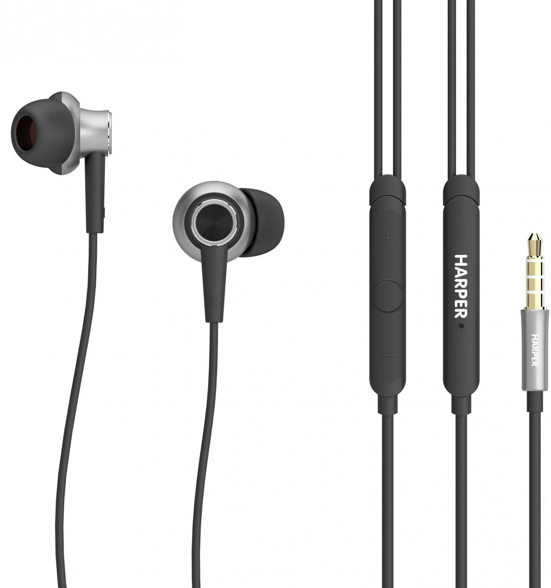 Harper HV-808, Black наушникиH00001237Проводные стереонаушники Harper HV-808 обладают анатомической формой и разработаны таким образом, чтобы сделать качество звучания музыки непревзойденным. Этому способствуют форма наушников (звучание под углом к слуховому каналу), а также техническая начинка. С Harper HV-808 вы сможете слушать музыку в идеальном качестве даже на небольшой громкости. В комплекте поставляются три набора мягких силиконовых накладок разного размера и удобный чехол для хранения и переноски наушников. В инструкции вы найдете рекомендации по подбору правильного размера амбушюр, а также инструкции по уходу и эксплуатации Harper HV-808. Несмотря на то, что наушники проводные, при использовании с современными смартфонами на базе ОС Android или iOS, вы сможете управлять треками (перемотка, переключение, пауза, воспроизведение) и вызовами (режим телефонной гарнитуры). Для этого в едином корпусе на проводе наушников с микрофоном размещены три кнопки. Наличие разъема 3,5 мм...