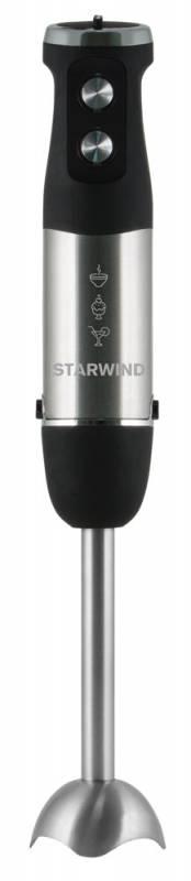 Starwind SBP5B, Black блендер погружнойSBP5BБыстро и качественно смешать или измельчить разные продукты вам поможет блендер Starwind SBP5B. Он удобно ложится в руке и позволяет с легкостью регулировать скоростной режим его работы. Реализуйте самые смелые кулинарные фантазии. Приготовить фирменный суп-пюре, измельчить лук с зеленью для салатов или сделать коктейль - со всем этим без труда справится предлагаемый кухонный помощник.