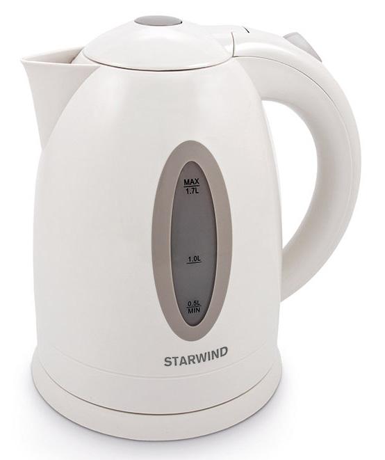 Starwind SKP2211, White чайник электрическийSKP2211Электрический чайник Starwind SKP2211 прост в управлении и долговечен в использовании. Изготовлен из высококачественных материалов. Прозрачное окошко позволяет определить уровень воды. Мощность 2200 Вт позволит вскипятить 1,7 литра воды в считанные минуты. Для обеспечения безопасности при повседневном использовании предусмотрены функция автовыключения, а также защита от включения при отсутствии воды.