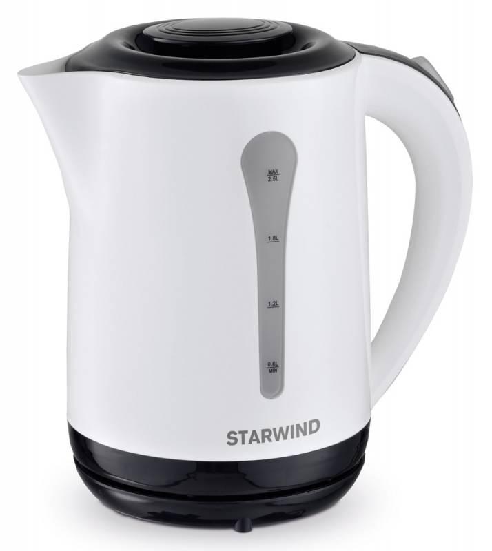 Starwind SKP2212, White Black чайник электрическийSKP2212Электрический чайник Starwind SKP2212 прост в управлении и долговечен в использовании. Изготовлен из высококачественных материалов. Прозрачное окошко позволяет определить уровень воды. Мощность 2200 Вт позволит вскипятить 2,5 литра воды в считанные минуты. Для обеспечения безопасности при повседневном использовании предусмотрены функция автовыключения, а также защита от включения при отсутствии воды.