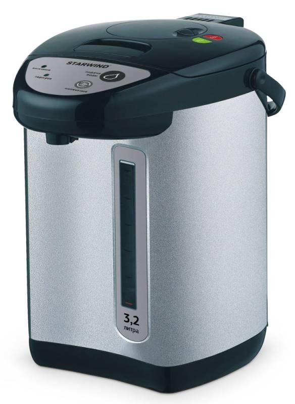 Starwind STP4176, Black Silver термопотSTP4176Для экономии времени, которое тратится на нагревание чайника, можно использовать термопот Starwind STP4176. Высокая мощность прибора 750 Вт и вместимость, достигающая 3,2 л, являются весомыми преимуществами при использовании устройства. Вода в нем будет очень быстро нагреваться и долго остывать. Удобная ручка позволяет переносить ее в любое подходящее место. Прибор поддерживает температуру воды и блокирует кнопку включения при отсутствии жидкости внутри. Наличие функции повторного кипячения и возможность следить за уровнем наполненности делают работу с прибором удобной и комфортной.