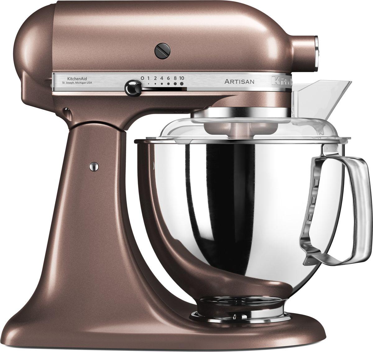 KitchenAid Artisan, Light Brown миксер планетарный (5KSM175PSEAP)5KSM175PSEAPМиксер KitchenAid Artisan - это уникальное многофункциональное устройство, практически не имеющее аналогов на рынке техники для дома и кухни. Сочетание классического элегантного дизайна и высокой мощности, соответствующей стандартам профессионального оборудования, делает этот миксер фаворитом не только на домашней кухне, но и на рабочем столе мастеров поварского искусства. Откидывающаяся головка миксера KitchenAid Artisan позволяет легко менять насадки и устанавливать чашу. Миксер имеет 10 скоростных режимов, от медленного смешивания до высокоскоростного взбивания. Базовая комплектация миксера включает: чашу объемом 4,83 литра, крюк для теста, венчик для взбивания, насадку- лопатку для перемешивания, крышку для чаши и защитный обод с воронкой для засыпания продуктов. Этого набора достаточно, чтобы миксер успешно выполнял базовые функции. В передней части привода миксера KitchenAid имеется еще одно гнездо для подсоединения дополнительных насадок....