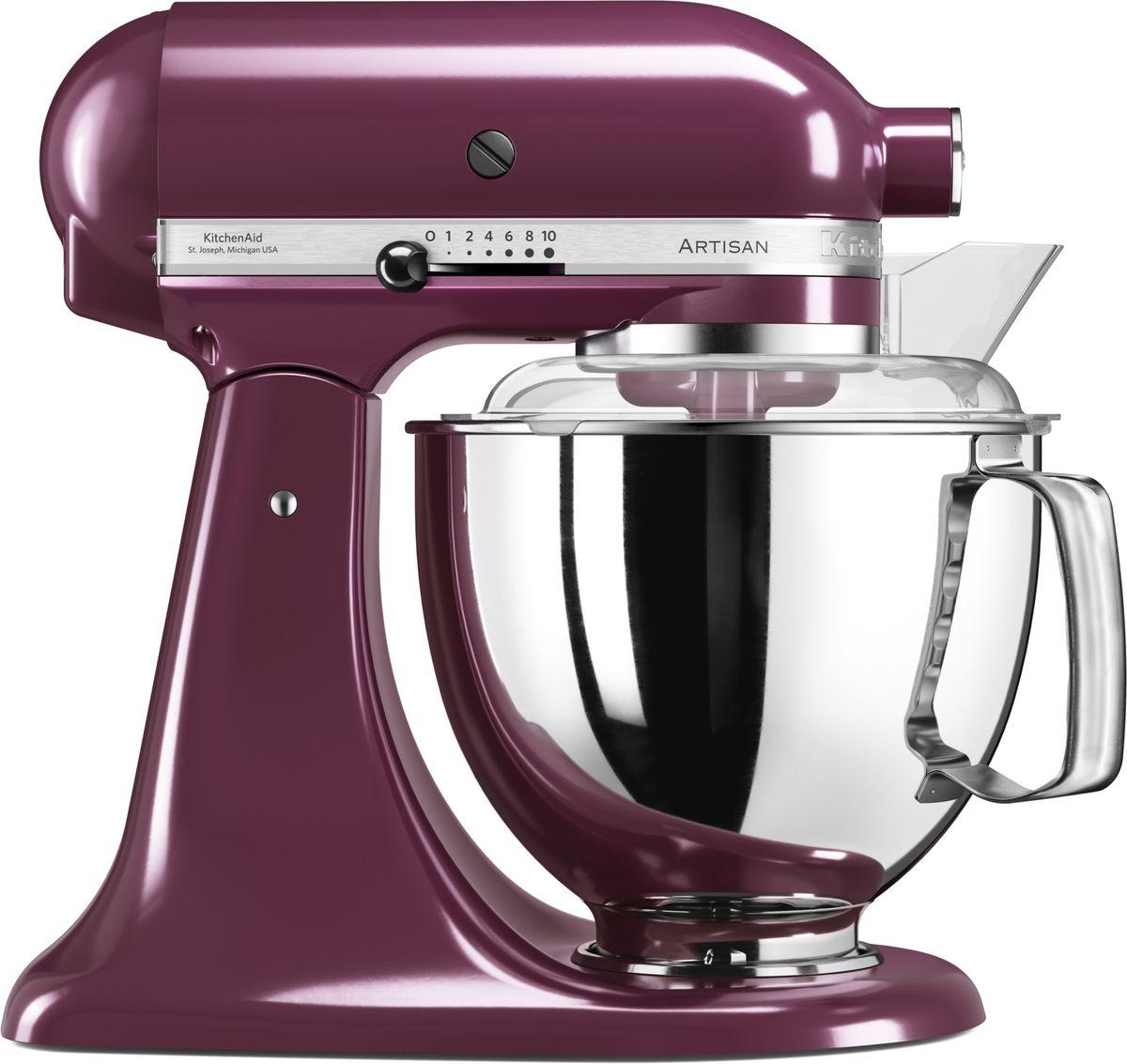KitchenAid Artisan, Purple миксер планетарный (5KSM175PSEBY)5KSM175PSEBYМиксер KitchenAid Artisan - это уникальное многофункциональное устройство, практически не имеющее аналогов на рынке техники для дома и кухни. Сочетание классического элегантного дизайна и высокой мощности, соответствующей стандартам профессионального оборудования, делает этот миксер фаворитом не только на домашней кухне, но и на рабочем столе мастеров поварского искусства. Откидывающаяся головка миксера KitchenAid Artisan позволяет легко менять насадки и устанавливать чашу. Миксер имеет 10 скоростных режимов, от медленного смешивания до высокоскоростного взбивания. Базовая комплектация миксера включает: чашу объемом 4,83 литра, крюк для теста, венчик для взбивания, насадку- лопатку для перемешивания, крышку для чаши и защитный обод с воронкой для засыпания продуктов. Этого набора достаточно, чтобы миксер успешно выполнял базовые функции. В передней части привода миксера KitchenAid имеется еще одно гнездо для подсоединения дополнительных насадок....
