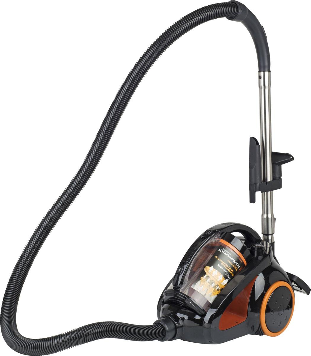 Scarlett IS-580, Black Orange пылесосIS-580Пылесос Scarlett IS-580 отличается элегантным и функциональным дизайном — благодаря оригинальной компоновке его удобно перемещать путем натяжения шланга и переноски в руках, а также хранить в вертикальном положении. Модель оборудована пластиковой емкостью для отходов с циклонным фильтром, которая задерживает все твердые частицы и легко очищается при необходимости, что позволяет обходиться без покупки мешков и прочих расходных материалов. Высокая мощность пылесоса дает возможность справляться с наиболее сильными загрязнениями. При необходимости ограничения силы втягивания можно воспользоваться регулятором, расположенным на рукоятке, а полное отключение и повторное включение может производиться ногой без наклона тела.