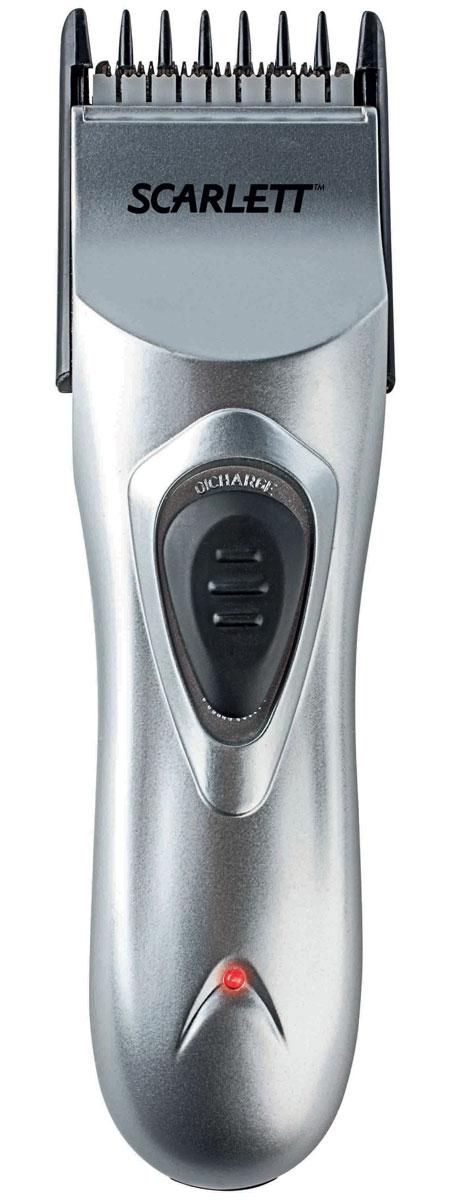 Scarlett SC-160, Silver машинка для стрижки волосSC-160Scarlett SC-160 - лёгкая и удобная в использовании машинка для стрижки волос. С её помощью в домашних условиях можно выполнять стрижку на высоком профессиональном уровне. Лезвия машинки выполнены из прочной и долговечной нержавеющей стали, они обеспечивают высокую точность стрижки. К модели прилагаются расчёска и ножницы, позволяющие повысить качество стрижки, а также масло для смазки и щёточка для чистки, щёточка для чистки, делающие уход за этим устройством особенно простым. Фиксатор длины для точной настройки Телескопическая насадка 7 вариантов длины стрижки от 1 до 17 мм Функция филировки