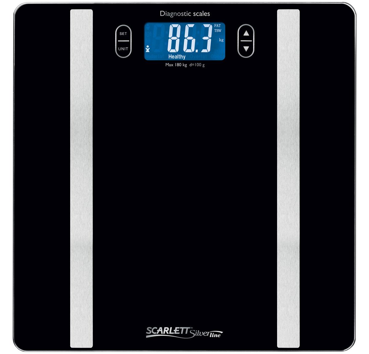 Scarlett SL-BS34ED42, Black весы напольныеSL-BS34ED42Диагностические весы Scarlett SL-BS34ED42 не только помогут следить за весом, но и определить процентное соотношение воды и жира в организме. Есть возможность занести полученные результаты измерений в память – доступно 10 ячеек, в которые заносится информация о росте, возрасте, поле и других параметрах пользователя. Включаются и выключаются весы автоматически – достаточно встать на платформу и весы начнут работу. Платформа весов имеет ультратонкий дизайн (5 мм), изготовлена из качественного высокопрочного стекла и оснащена большим жидкокристаллическим дисплеем. Предусмотрены индикаторы превышения допустимой нагрузки и необходимости заменить батарейки. Для работы весов потребуются две 3V батарейки типа CR 2032 – они уже включены в комплект поставки. Безопасность использования обеспечивается прорезиненными ножками, исключающими скольжение.